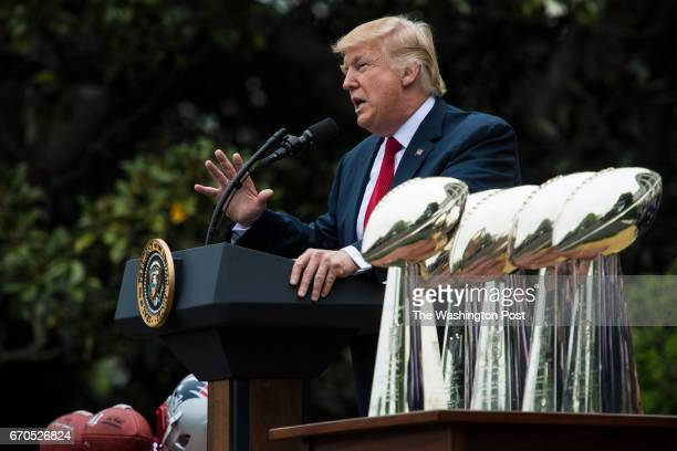 President Donald Trump speaks during a ceremony where he honored the Super Bowl Champion New England Patriots for their Super Bowl LI victory on the...