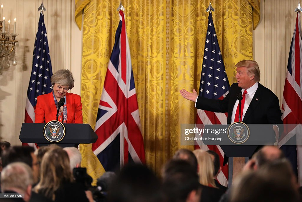 U.S. President Donald Trump speaks during a joint press conference with British Prime Minister Theresa May in The East Room at The White House on January 27, 2017 in Washington, DC. British Prime Minister Theresa May is on a two-day visit to the United States and will be the first world leader to meet with President Donald Trump.