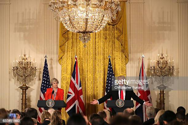 S President Donald Trump speaks during a joint press conference with British Prime Minister Theresa May in The East Room at The White House on...