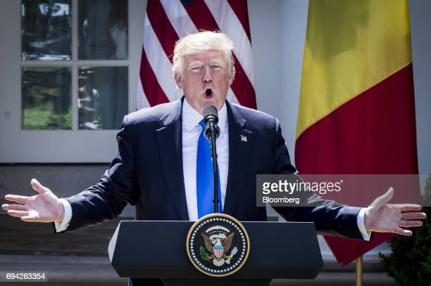 US President Donald Trump speaks during a joint press conference with Klaus Iohannis Romania's president not pictured in the Rose Garden of the White...