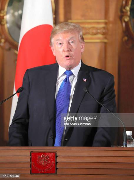 US President Donald Trump speaks during a joint press conference with Japanese Prime Minister Shinzo Abe following their meeting at the Akasaka State...