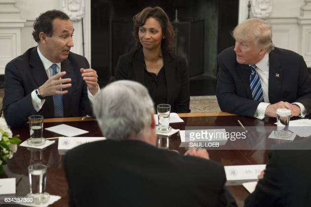 US President Donald Trump speaks during a meeting with airline industry executives including Oscar Munoz President and CEO of United Airlines and...