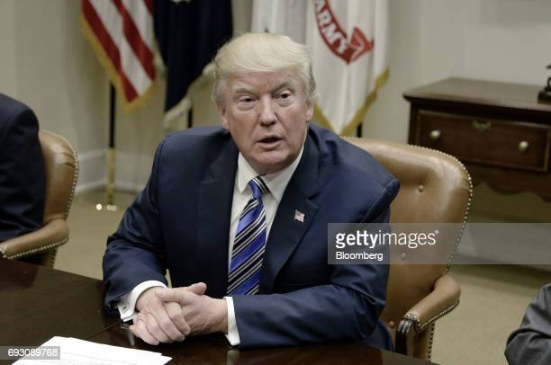 US President Donald Trump speaks during a meeting with House and Senate leadership in the Roosevelt Room of the White House in Washington DC US on...