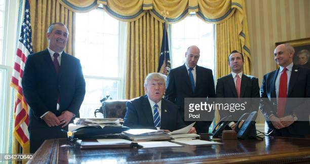 President Donald Trump speaks during a meeting with Intel CEO Brian Krzanich at the White House February 8 2017 in Washington DC Krzanich announced...