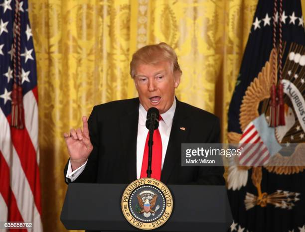 S President Donald Trump speaks during a news conference announcing Alexander Acosta as the new Labor Secretary nominee in the East Room at the White...