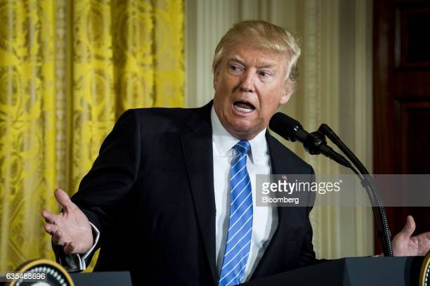 US President Donald Trump speaks during a news conference with Benjamin Netanyahu Israeli's prime minister not pictured in the East Room of the White...
