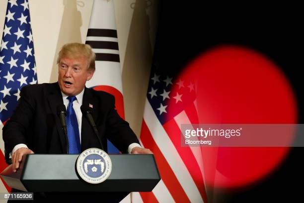 US President Donald Trump speaks during a news conference with Moon Jaein South Korea's president not pictured at the presidential Blue House in...