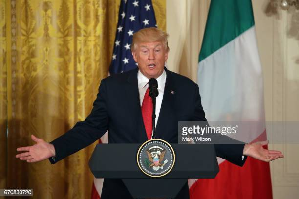 S President Donald Trump speaks during a news conference with Prime Minister Paolo Gentiloni of Italy in the East Room at the White House on April 20...