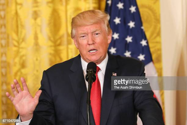 US President Donald Trump speaks during a news conference with Prime Minister Paolo Gentiloni of Italy in the East Room at the White House on April...