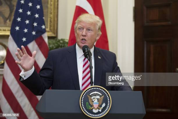 US President Donald Trump speaks during a news conference with Recep Tayyip Erdogan Turkey's president not pictured at the Roosevelt Room of the...