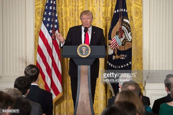 President Donald Trump speaks during a press conference on February 16 at the White House in Washington DC / AFP / NICHOLAS KAMM