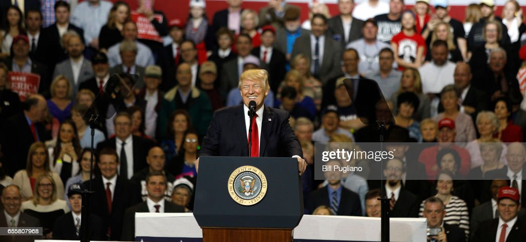 U.S. President Donald Trump speaks during a rally in Freedom Hall at the Kentucky Exposition Center March 20, 2017 in Louisville, Kentucky.