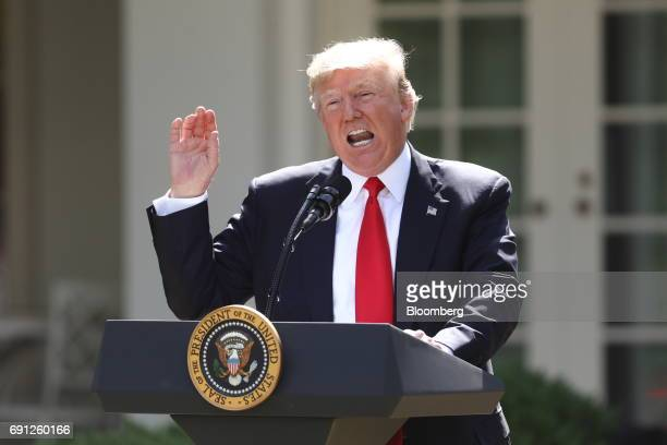 US President Donald Trump speaks during an announcement in the Rose Garden of the White House in Washington DC US on Thursday June 1 2017 Trump...