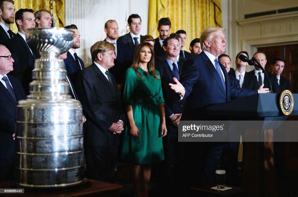 US President Donald Trump speaks during an event honouring the 2017 Stanley Cup Champions, The Pittsburgh Penguins, in the East Room of the White House in Washington, DC, on October 10, 2017. /