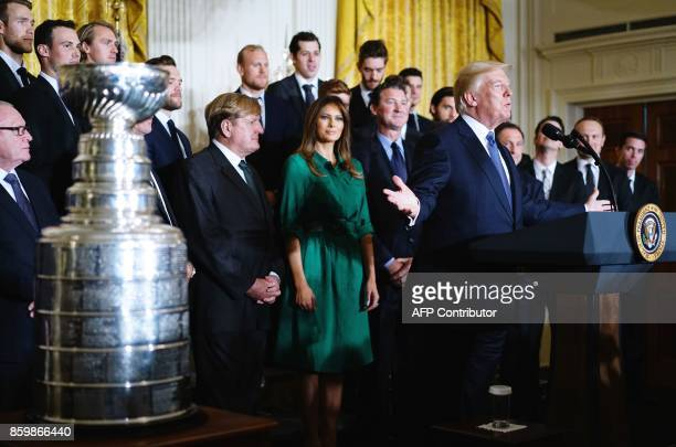 US President Donald Trump speaks during an event honouring the 2017 Stanley Cup Champions The Pittsburgh Penguins in the East Room of the White House...
