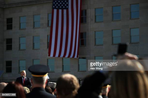 S President Donald Trump speaks during an observance to commemorate the anniversary of the 9/11 terror attacks at the Pentagon Memorial September 11...