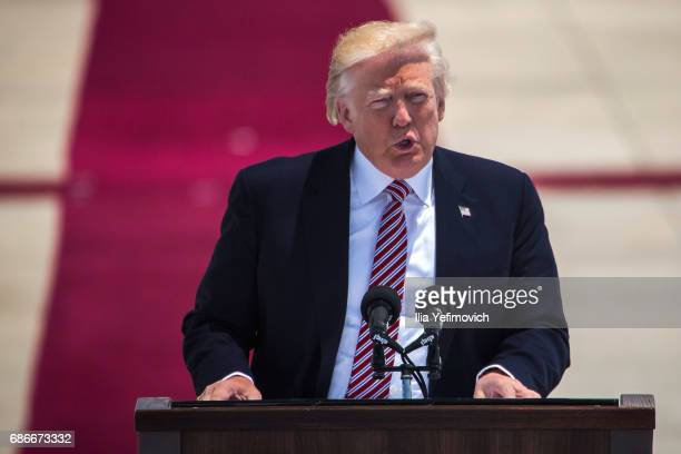 President Donald Trump speaks during an official welcoming ceremony on his arrival at Ben Gurion International Airport on May 22 2017 near Tel Aviv...