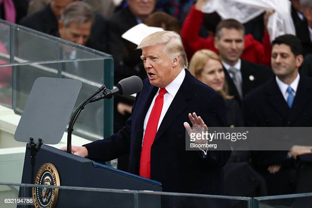 US President Donald Trump speaks during the 58th presidential inauguration in Washington DC US on Friday Jan 20 2017 Donald Trump will become the...