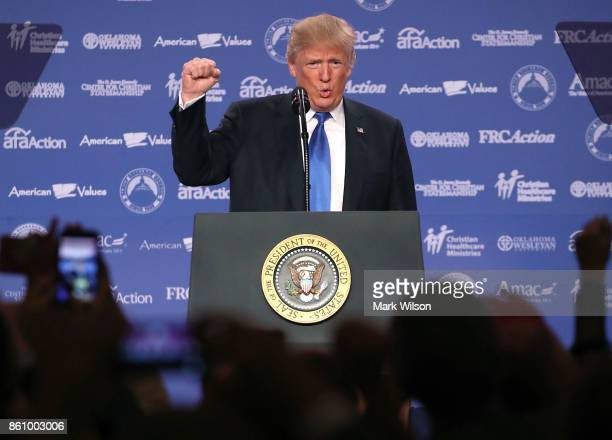S President Donald Trump speaks during the annual Family Research Council's Values Voter Summit at the Omni Shorham Hotel on October 13 2017 in...