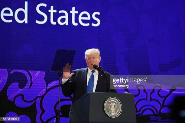US President Donald Trump speaks during the AsiaPacific Economic Cooperation CEO Summit in Danang Vietnam on Friday Nov 10 2017 Trump will not meet...