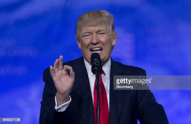 US President Donald Trump speaks during the Conservative Political Action Conference in National Harbor Maryland US on Friday Feb 24 2017 It's...