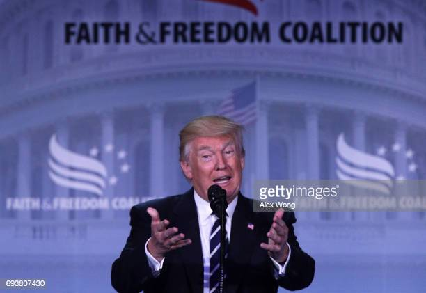 S President Donald Trump speaks during the Faith Freedom Coalition's Road to Majority Conference June 8 2017 in Washington DC Former FBI Director...