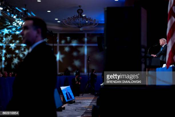 President Donald Trump speaks during the Family Research Council's 2017 Value Voters Summit on October 13 2017 in Washington DC / AFP PHOTO / Brendan...