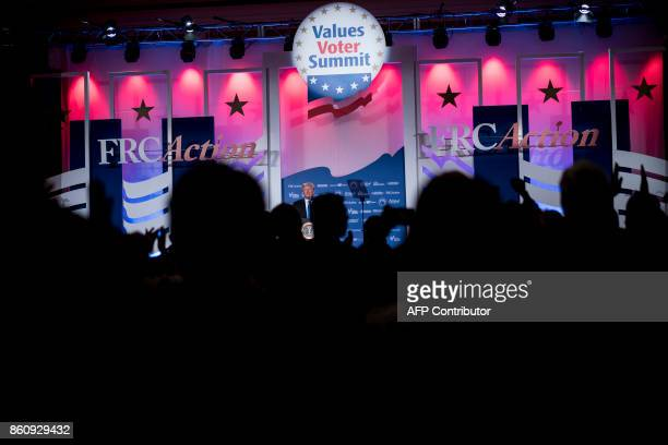 US President Donald Trump speaks during the Family Research Council's 2017 Value Voters Summit on October 13 2017 in Washington DC / AFP PHOTO /...