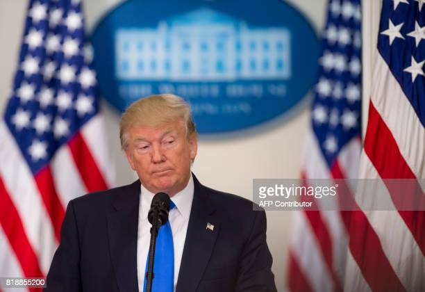 US President Donald Trump speaks during the first meeting of the Presidential Advisory Commission on Election Integrity in the Eisenhower Executive...