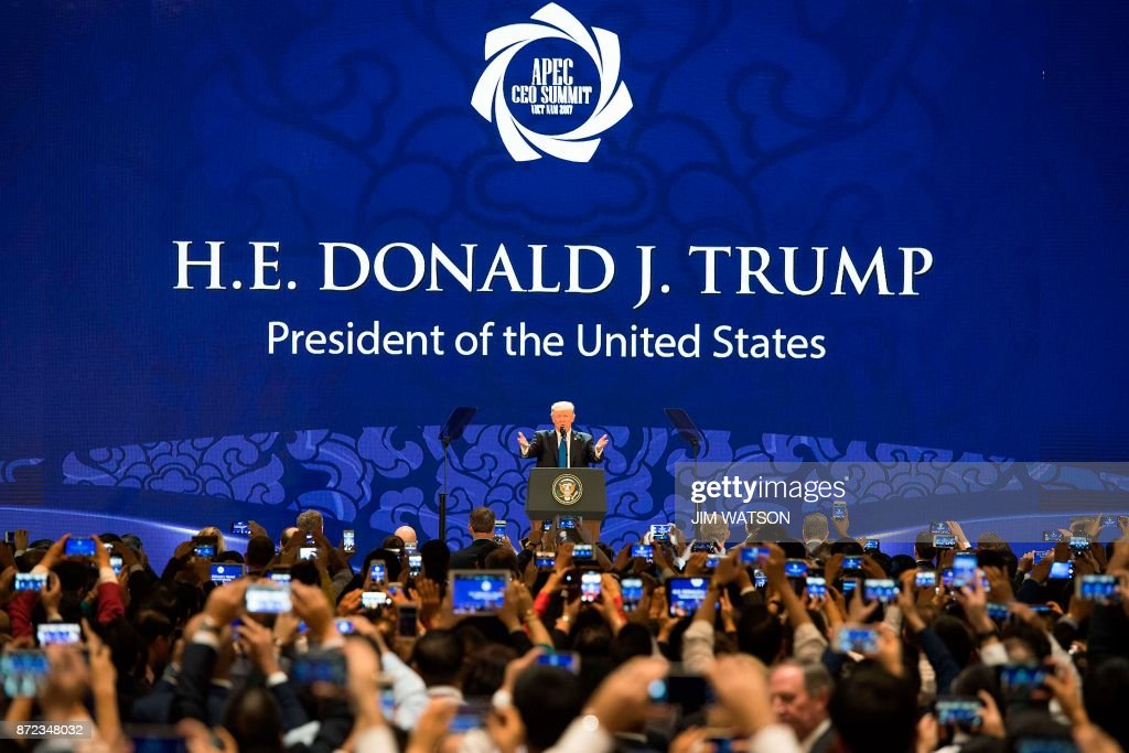 President Donald Trump speaks on the final day of the APEC CEO Summit, part of the broader Asia-Pacific Economic Cooperation (APEC) leaders' summit, in the central Vietnamese city of Danang on November 10, 2017. World leaders and senior business figures are gathering in the Vietnamese city of Danang this week for the annual 21-member APEC summit. /