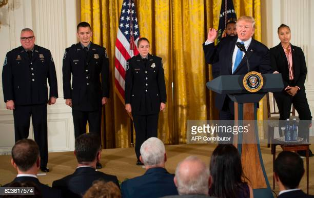 US President Donald Trump speaks prior to presenting the Medal of Valor to the first responders of the June 14 shooting against members of the...