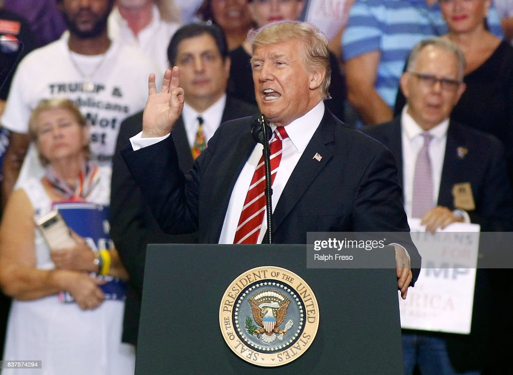 Image result for images of Trump on Aug.22, 2017 in Arizona