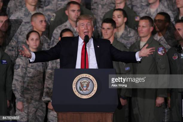 S President Donald Trump speaks to Air Force personnel during an event September 15 2017 at Joint Base Andrews in Maryland President Trump attended...