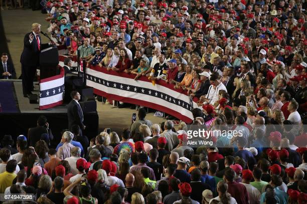S President Donald Trump speaks to supporters during a 'Make America Great Again Rally' at the Pennsylvania Farm Show Complex Expo Center April 29...