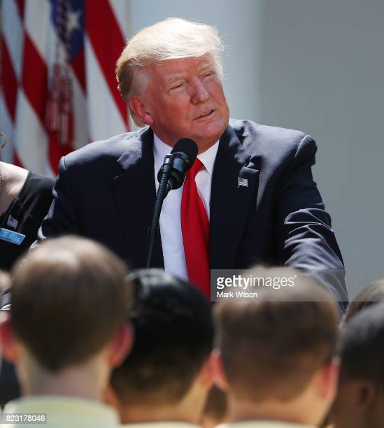 S President Donald Trump speaks to the American Legion Auxiliary Girls Nation and American Legion Boys Nation who gathered in the Rose Garden at the...
