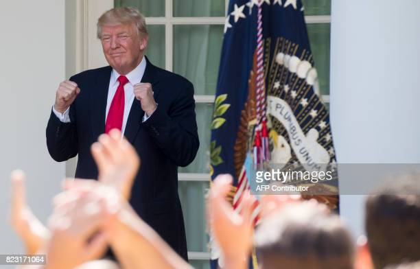 US President Donald Trump speaks to the American Legion Boys Nation and the American Legion Auxiliary Girls Nation in the Rose Garden of the White...
