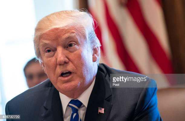 US President Donald Trump speaks to the media during a cabinet meeting at the White House on November 20 2017 in Washington DC President Trump...