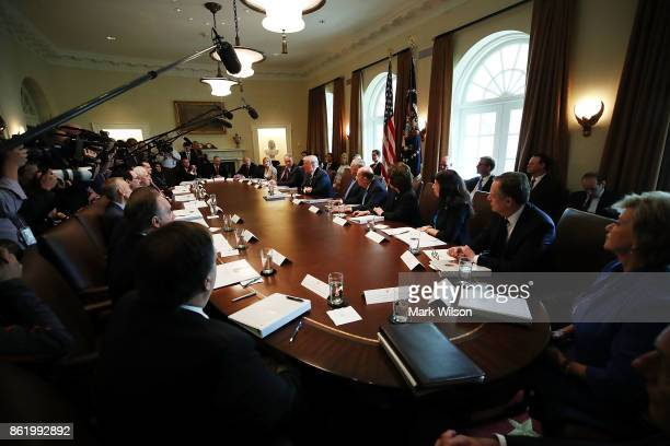 US President Donald Trump speaks to the media during a meeting with his cabinet at the White House on October 16 2017 in Washington DC Trump will...