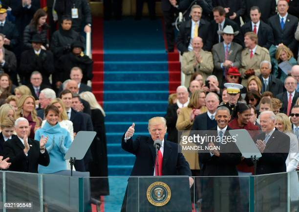 President Donald Trump speaks to the nation during his swearingin ceremony on January 20 2017 at the US Capitol in Washington DC / AFP PHOTO / Mandel...