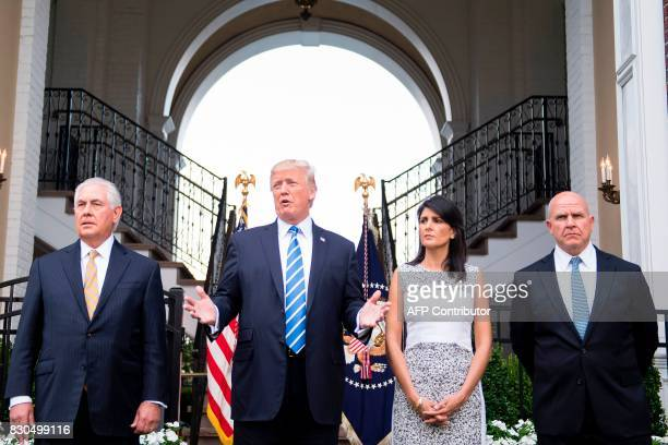 US President Donald Trump speaks to the press with US Secretary of State Rex Tillerson Ambassador to the United Nations Nikki Haley and United States...