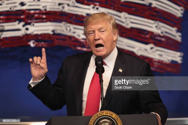 President Donald Trump speaks to workers at the headquarters of tool manufacturer SnapOn on April 18 2017 in Kenosha Wisconsin During the visit Trump...