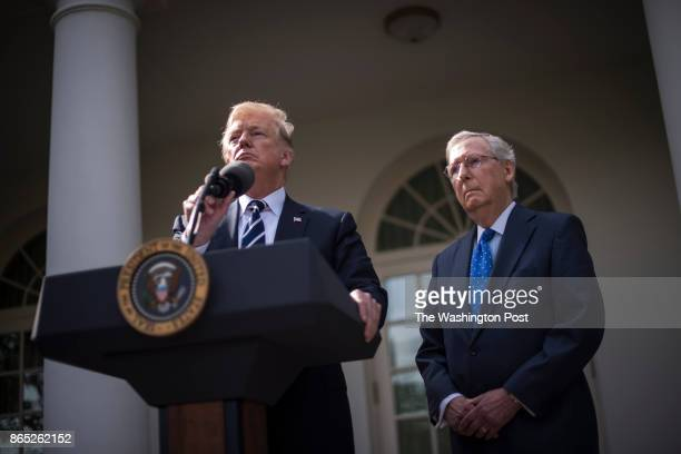 President Donald Trump speaks with Senate Majority Leader Mitch McConnell of Ky in the Rose Garden after their meeting at the White House in...