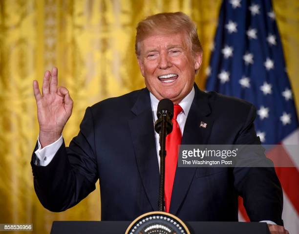 President Donald Trump talks about NAFTA as he holds a joint press conference with President Sauli Niinistö of Finland on August 2017 in Washington DC