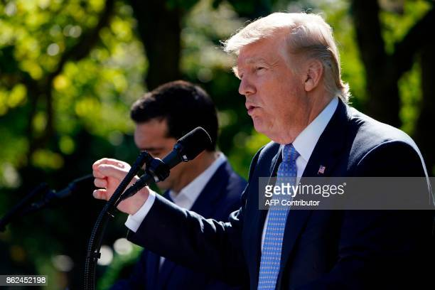 US President Donald Trump talks during a joint press conference with Greek Prime Minister Alexis Tsipras in the Rose Garden of the White House in...