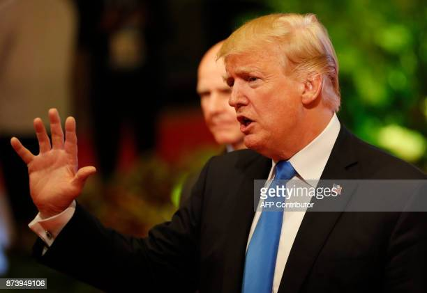 US President Donald Trump talks to the press after attending the 31st Association of Southeast Asian Nations Summit in Manila on November 14 2017 The...