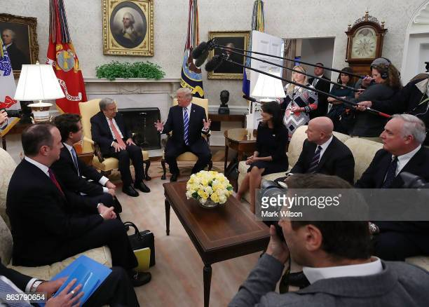 President Donald Trump talks with UN Secretary General António Guterres during a meeting in the Oval office at the White House on October 20 2017 in...