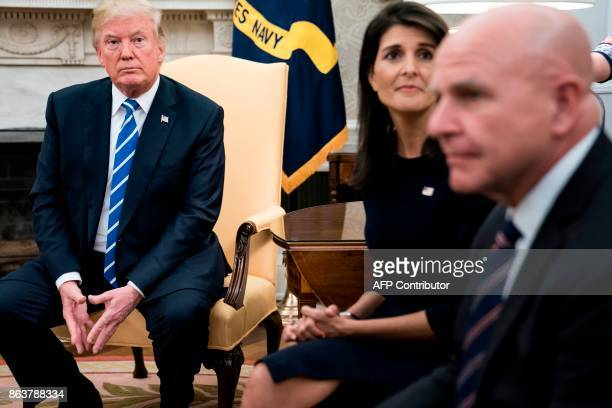 US President Donald Trump US Ambassador to the UN Nikki Haley and National Security Advisor H R McMaster wait for a meeting with the UN Secretary...