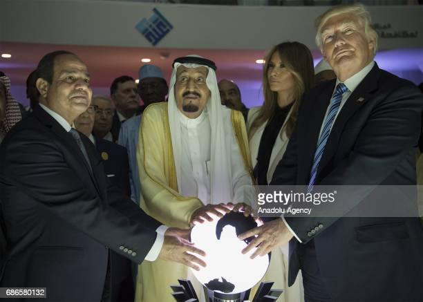 US President Donald Trump US First lady Melania Trump Saudi Arabia's King Salman bin Abdulaziz alSaud and Egyptian President Abdel Fattah elSisi put...