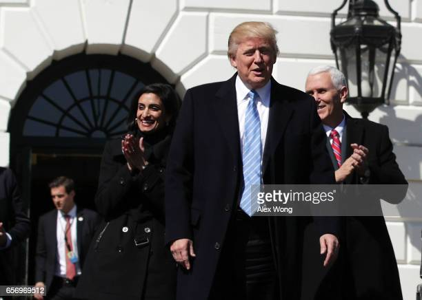 S President Donald Trump Vice President Mike Pence and Administrator of the Centers for Medicare and Medicaid Services Seema Verma welcome members of...