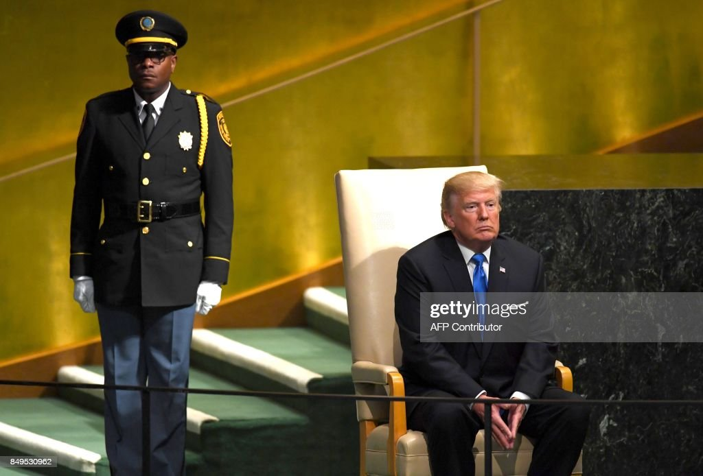 US President Donald Trump waits after addressing the 72nd Annual UN General Assembly in New York on September 19, 2017.